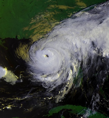Hurricane Elena early on September 1, shortly before attaining peak intensity and accelerating to the west