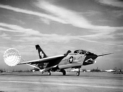 The single XF8U-1T in 1962.