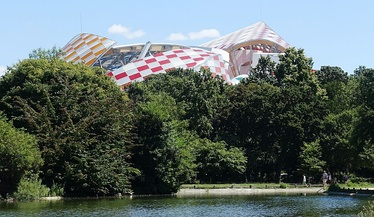Part of the roof of the Fondation Louis Vuitton building as seen from the Bois de Boulogne in Paris, France (2016)