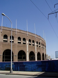 The arched exterior of Franklin Field