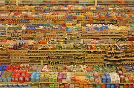 Packaged food aisles in a hypermarket