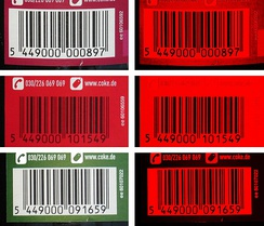"GTIN barcodes on Coke bottles. The images at right show how the laser of barcode readers ""see"" the images behind a red filter."