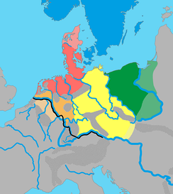 One proposed theory for Germanic dialect groups and their approximate distribution in northern Europe around 1 CE: .mw-parser-output .legend{page-break-inside:avoid;break-inside:avoid-column}.mw-parser-output .legend-color{display:inline-block;width:1.5em;height:1.5em;margin:1px 0;text-align:center;border:1px solid black;background-color:transparent;color:black;font-size:100%}.mw-parser-output .legend-text{font-size:95%}  North Germanic   North Sea Germanic (Ingvaeonic)   Weser-Rhine Germanic, (Istvaeonic)   Elbe Germanic (Irminonic)   East Germanic