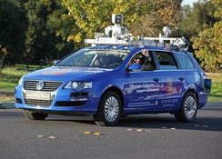 A robotic Volkswagen Passat shown at Stanford University is a driverless car