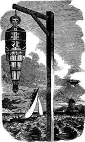 Hanging of Captain Kidd; illustration from The Pirates Own Book (1837)