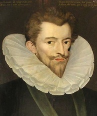 Henry, Duke of Guise, by Pierre Dumoûtier. Disarmed by Catherine's sweetness on meeting her for negotiations at Épernay in 1585, Guise tearfully insisted that his motives had been misunderstood. Catherine told him it would be better if he took off his boots and ate something, after which they could talk at length.[125]