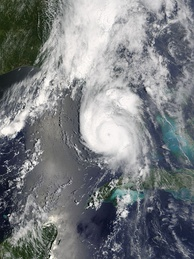 Hurricane Charley in 2004 moving ashore on South Florida's Gulf of Mexico coast