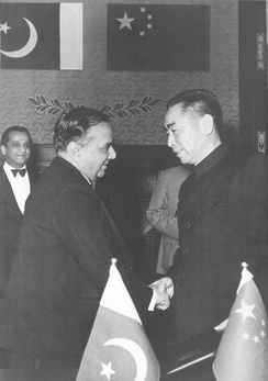 Pakistan Prime Minister Huseyn Shaheed Suhrawardy with Chinese Premier Zhou Enlai signing the Treaty of Friendship Between China and Pakistan. Pakistan is host to China's largest embassy.[237]
