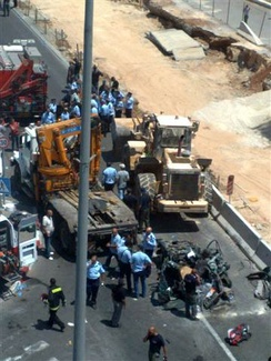 Jerusalem, July 2, 2008. A Palestinian man drives a front-end loader into several vehicles in Jerusalem, killing three before being shot dead.