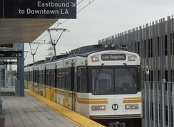 Metro Expo Line train departing from La Cienega/Jefferson station to Downtown LA.