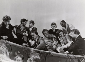 L-R: Walter Slezak, John Hodiak, Tallulah Bankhead, Henry Hull, William Bendix, Heather Angel, Mary Anderson, Canada Lee, and Hume Cronyn in Alfred Hitchcock's Lifeboat (1944)