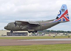 A Hercules C5 of the Royal Air Force arrives at the 2016 Royal International Air Tattoo (RIAT) in England.