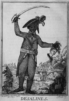 An 1806 engraving of Jean-Jacques Dessalines. It depicts the general, sword raised in one arm, while the other holds a severed head of a white woman.