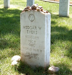 Medgar Evers's grave in Arlington National Cemetery in 2007