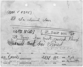 "This message denotes the first U.S. ship, St. Louis to clear Pearl Harbor. (National Archives and Records Administration) (Note that this is in answer to question ""Is channel clear?"" and faint writing at bottom concerning the answer being held until St. Louis had successfully cleared.)"