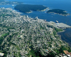 Aerial photo of downtown and central Nanaimo and adjacent islands.