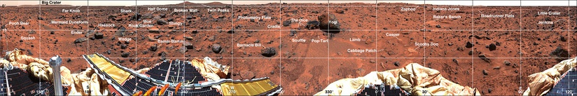 Panorama of rocks near the Sojourner Rover (December 5, 1997).