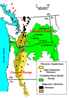 The Columbia Plateau covers much of the Columbia River Basalt Group, shown in green on this map. The Washington cities of Spokane, Yakima and Pasco, and the Oregon city of Pendleton, lie on the Columbia Plateau.