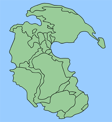Пангея, окружённая суперокеаном Панталасса