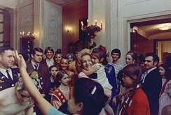 Pat Nixon greets young White House visitors, 1969