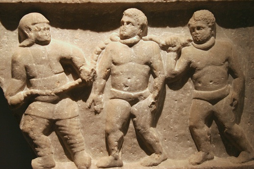 Slaves in chains during the period of Roman rule at Smyrna (present-day İzmir), 200 CE.