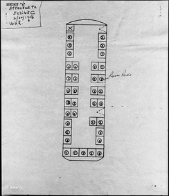 A diagram showing where Rosa Parks sat in the unreserved section at the time of her arrest