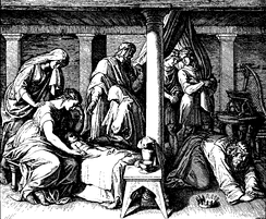 "This 1860 woodcut by Julius Schnorr von Karolsfeld depicts the death of Bathsheba's first child with David, who lamented, ""I shall go to him, but he will not return to me""(2 Samuel 12:23)"