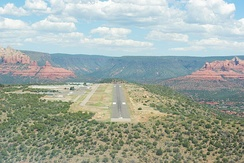 Sedona Airport viewed from the south, showing its location atop Airport Mesa
