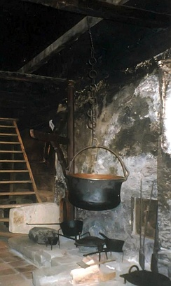 18th century cooks tended a fire and endured smoke in this Swiss farmhouse smoke kitchen