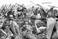 Spartans fighting against Persian forces at the Battle of Plataea. 19th century illustration.