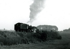 A demolition train during the dismantling of the Salisbury and Dorset Line in 1965
