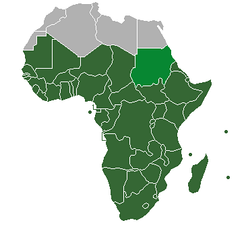 "Dark and lighter green: Definition of ""Sub-Saharan Africa"" as used in the statistics of the United Nations institutions. Lighter green: However, Sudan is classified as North Africa by the United Nations Statistics Division.[1]"