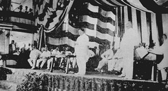 Governor General William Howard Taft addressing the audience at the Philippine Assembly in the Manila Grand Opera House, October 16, 1907