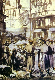 The Barricade (Civil War), 1871, ink, watercolor, and gouache on paper, Museum of Fine Arts (Budapest)
