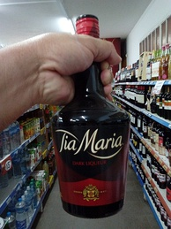 A bottle of Tia Maria at a grocery store in Argentina