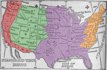 1913 time zone map of the United States, showing boundaries very different from today
