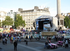 A public viewing event on the BT London Live stage at Trafalgar Square.