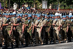 A multinational UN battalion at the 2008 Bastille Day military parade