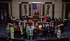 House Democrats, led by Lewis, take the floor to begin a sit-in demanding gun safety legislation on June 22, 2016