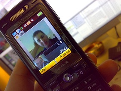 A mobile video call between Sweden and Singapore made on a Sony Ericsson K800 (2007)