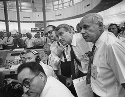 At launch control for the May 28, 1964, Saturn I SA-6 launch. Wernher von Braun is at center.