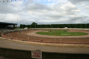 A dirt oval track