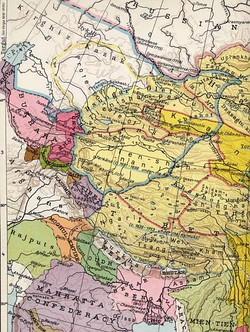The Dzungar Khanate (c. 1750) (in blue line)