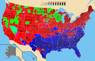 1924 presidential election results by county. Counties won by La Follette are marked green.