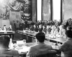 Geneva Conference, 21 July 1954. Last plenary session on Indochina in the Palais des Nations.