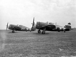 Republic P-47C-2-RE Thunderbolts of the 61st Fighter Squadron, 56th Fighter Group 41-6265 identifiable, 1943.
