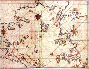 A 1528 map of the Aegean Sea by Ottoman Turkish geographer Piri Reis