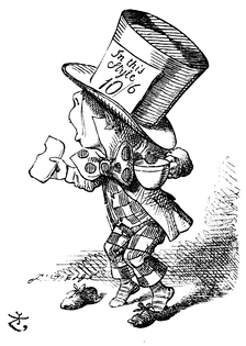 The Hatter enjoying a cup of tea and bread-and-butter, by Sir John Tenniel.