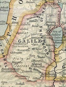 A map of ancient Galilee.The Historical Atlas by William Shepherd, circa 1923.