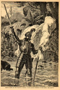 Balboa claiming possession of the South Sea (19th century engraving by unknown artist)